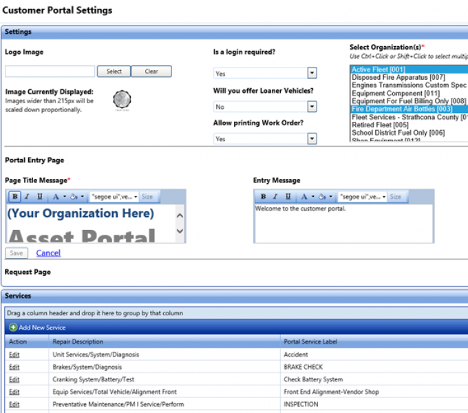 Customer portal allows customers to request repairs online, view repair history, and schedule and manage appointments