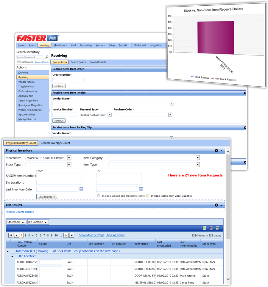 FASTER Web PARTS INVENTORY AND PROCESSING for inventory management and parts tracking